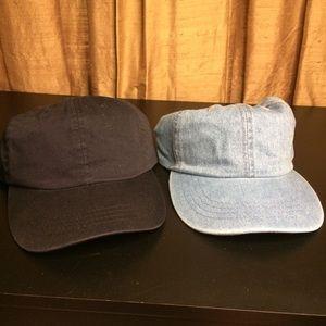 2 Solid Colored Baseball Hats Light Denim & Black